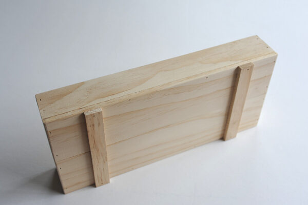Underside of wooden tray by Wooden Box