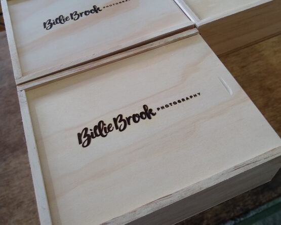 Billie Brook wooden boxes with branded logo