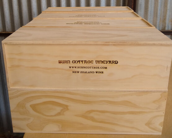 Burn Cottage wine box made and branded by The Wooden Box Company