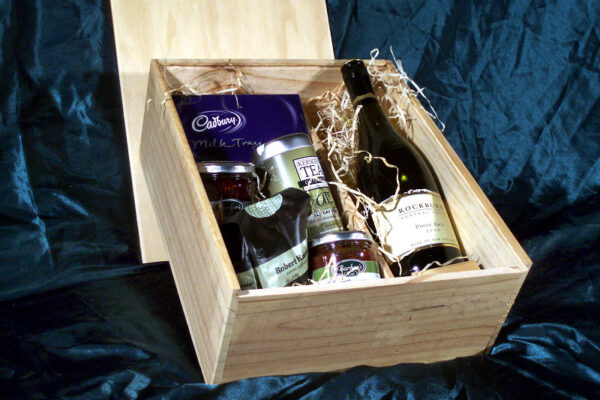 hamper box filled with gifts - Wooden Box
